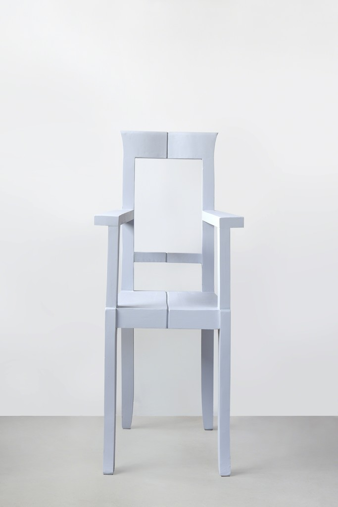 Nazgol Ansarinia, from the Mendings Series (Grey chair), 2012 Wooden chair, glue