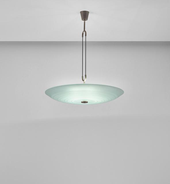 Pietro Chiesa, 'Rare chandelier', circa 1936, Design/Decorative Art, Acid-etched glass, nickel-plated brass, rubber., Phillips