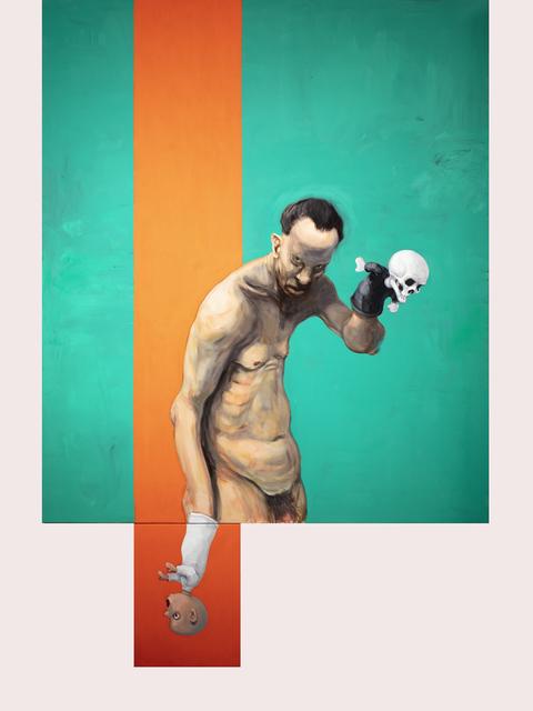 Michael Kvium, 'The Vertical Orange', 2020, Painting, Oil on canvas, Galleri Brandstrup