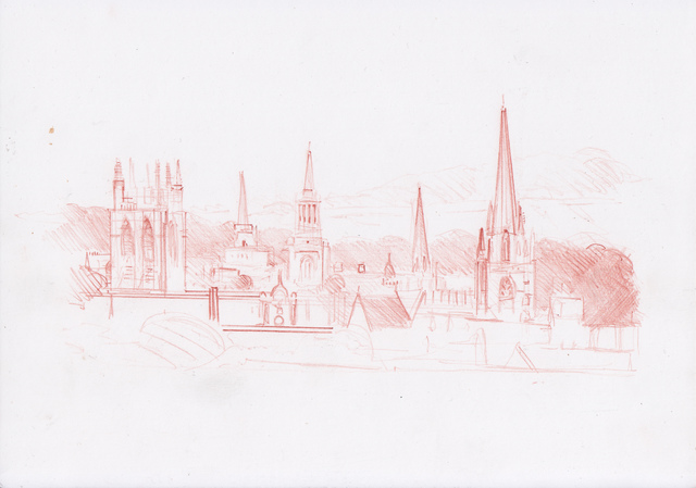 , 'Oxford Drawing #15 Oxford Skyline Study 4,' 2017, Sarah Wiseman Gallery