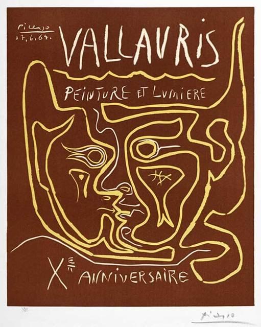 Pablo Picasso, 'Vallauris Peinture et Lumière, Xᵉ Anniversaire (Vallauris Painting and Light, Tenth Anniversary), 1964', 1964, Print, Color Linocut on Arches Paper, Masterworks Fine Art