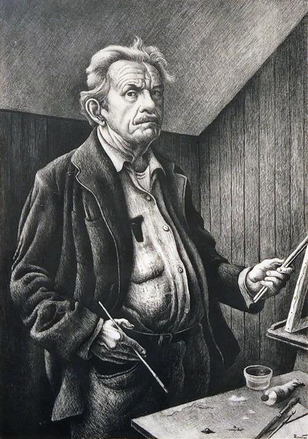 Thomas Hart Benton, 'Self Portrait', 1972, Print, Lithograph, Kiechel Fine Art