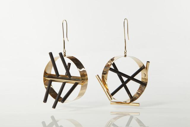 Ettore Sottsass, 'Gold earrings with ebony rods,' 1984-1986, Didier Ltd.