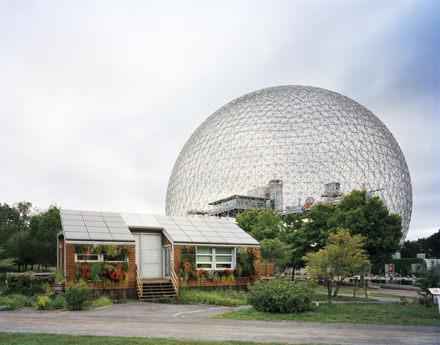 ", 'Montreal 1967 World's Fair, ""Man and His World,"" Buckminster Fuller's Geodesic Dome With Solar Experimental House,' 2012, Front Room Gallery"
