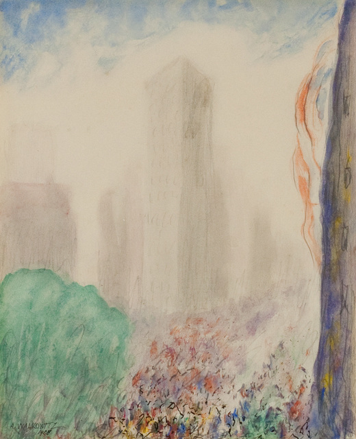 Abraham Walkowitz, 'New York', 1908, Drawing, Collage or other Work on Paper, Watercolor, pencil, and ink on paper, Questroyal Fine Art