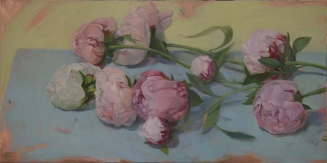 , 'Peonies on Blue Table,' 2012, LeMieux Galleries