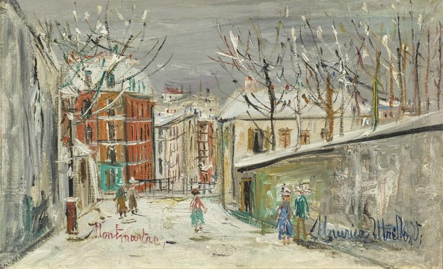 Maurice Utrillo, 'Montmartre, snowy day', ca. 1938, Painting, Oil on canvas, Galerie de Souzy