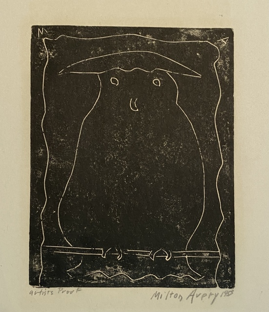 Milton Avery, 'Hooded Owl', 1953, Print, Linocut print, Friends Seminary Benefit Auction