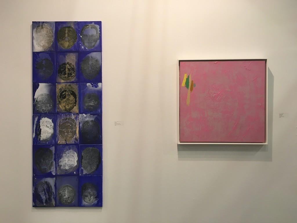 """SoyHun BAE: 4 1/2 Bows, 2016, acrylic on canvas, 72 x 27""""; William PEREHUDOFF: AC80-014, 1980, acrylic on canvas, 32x32"""""""