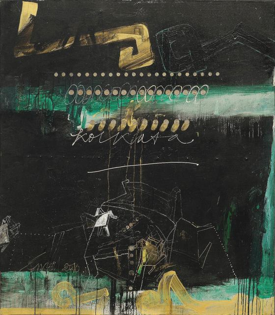 """, 'Coins work series, Oil, Acrylic, Coins, Gold Foil on Canvas, Black, White, Green, Brown by Artist Sunil Das """"In Stock"""",' 2010, Gallery Kolkata"""