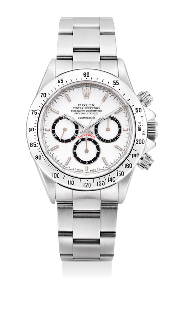 "Rolex, 'A fine and very rare stainless steel chronograph wristwatch with ""Floating Cosmograph"" white porcelain dial, bracelet, guarantee and presentation box', Circa 1989, Phillips"