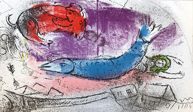 Marc Chagall, 'The Blue Fish', 1957, Print, Lithograph, Galerie d'Orsay