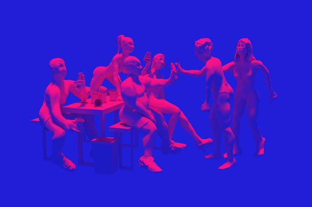 , 'Inteligent i Nie-inteligent porównują wielkości swoich dłoni [An Intelligent and Non-Intelligent Compare the Sizes of Their Hands] ,' 2017, Kasia Michalski Gallery