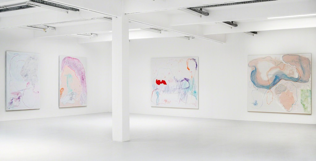 Gonn Mosny, exhibition view, 2017. From left: Gonn Mosny, 2016, LW 210 200 cm x 140 cm / 2016, LW 223 200cm x 150cm / 2017, LW 236 200 cm x 215 cm / 2017, LW 235, 200 cm x 215 cm, courtesy by the artist and Volker Diehl Gallery. Photo: Verena Nagl