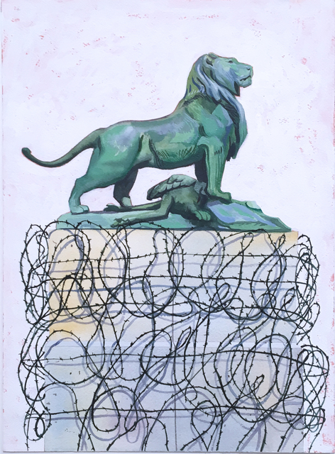 Thomas John Carlson, 'French Lion', 2018, Drawing, Collage or other Work on Paper, Watercolor on paper, Deep Space Gallery