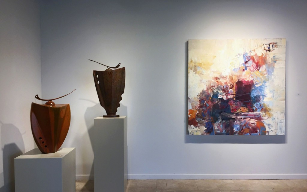 Two steel vessels by Mark Dickson; Criss Cross, painting by Chris Hayman