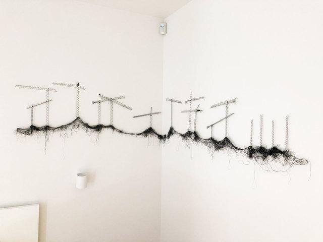 Elodie Antoine, 'Grues', 2019, Textile Arts, Bobbin lace, black thread and pins, Aeroplastics