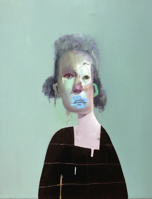 Edward Valentine, 'Untitled Portrait with Four Stripes and Blue Green Painted Ead', 2014, The Painting Center