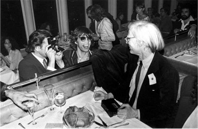 Mick Rock, 'Mick Jagger, Andy Warhol, Windows On The World', 1978, Mouche Gallery