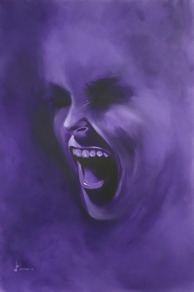 """""""Smoke Screen - Deep Purple"""" by Lakshmi Mohanbabu, acrylic on canvas, 2018, 91.0cm x 61.0cm x 3.5cm"""