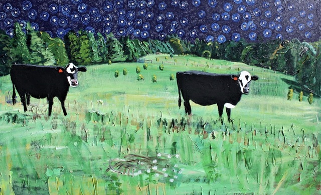 , 'Two Cows and Chopped Thistle at Night,' 2018, Les Yeux du Monde Gallery