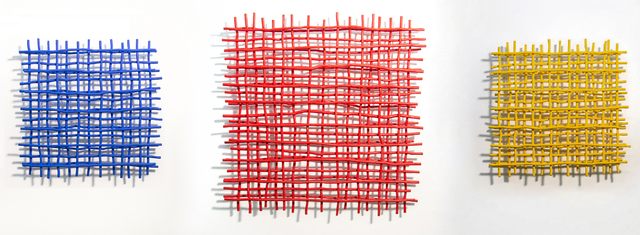 Shayne Dark, 'Gridlock Trio - blue, red, yellow, grids, large triptych wall sculpture', 2020, Sculpture, Aluminum, metal, paint, Oeno Gallery