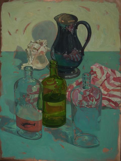 , 'Bottles on Bluegreen,' 2017, LeMieux Galleries