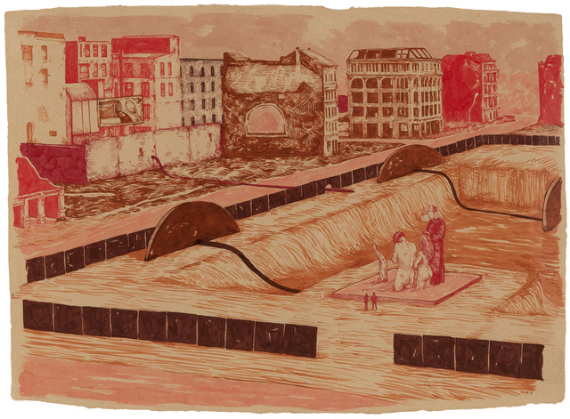 William Buchina, 'Scenery in Red #4', 2019, Drawing, Collage or other Work on Paper, Ink on paper, Hollis Taggart