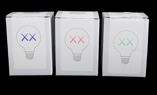KAWS, 'The Standard Lightbulbs', Design/Decorative Art, Glass and metal in colors blue, green and red (3), Julien's Auctions