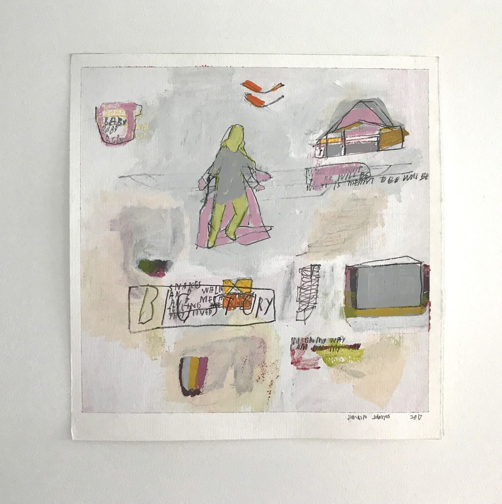 """""""Storylines: Works on Paper by Sally Gil & Jimmie James,"""" installation view. Jimmie James, """"big story,"""" 2017, acrylic and graphite on watercolor paper, 12.75 x 12.75 in."""
