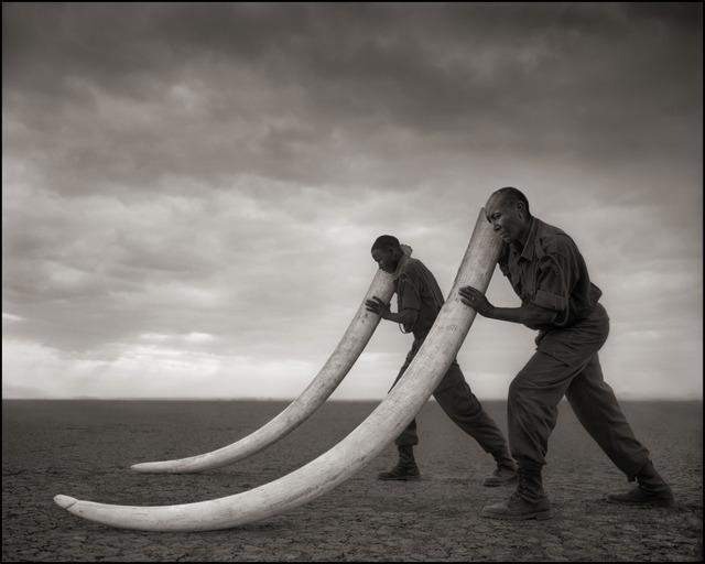 Nick Brandt, 'Two Rangers with Tusks of Killed Elephant, Amboseli 2011', 2011, photo-eye Gallery