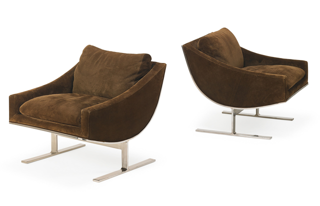 Kipp Stewart, 'Kipp Stewart For Directional Lounge Chairs', 1970s, Design/Decorative Art, Stainless steel frames with suede upholstery, USA, Rago/Wright