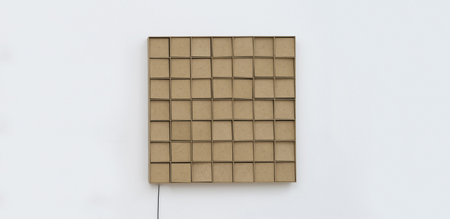 , '49 prepared dc-motors, mdf elements, mdf boxes 13x13x13cm,' 2015, bitforms gallery
