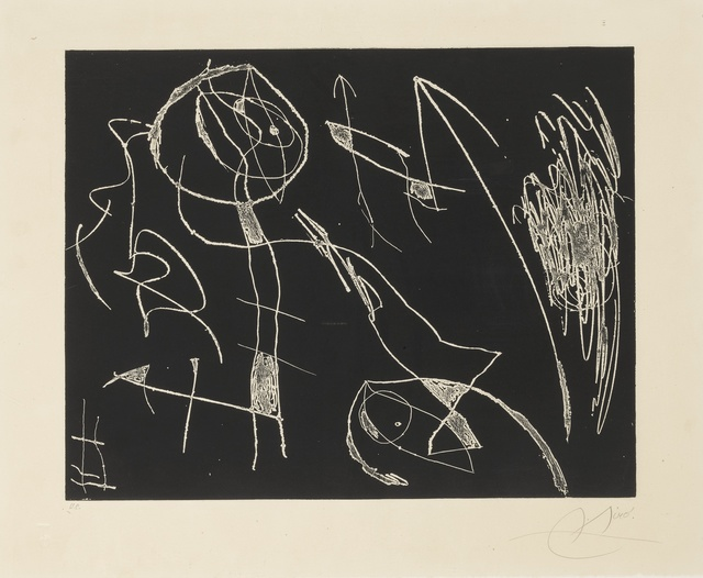 Joan Miró, 'Le prophète encercle and Série Mallorca: Plate 29 (D. 396 & 638)', 1965 and 1973, Print, Two etchings with aquatint printed in colors, Sotheby's