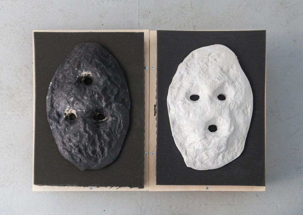 "exhibition #3: ""In Folge I (white mask) and II (black mask)"", stöckerselig (Basel)"