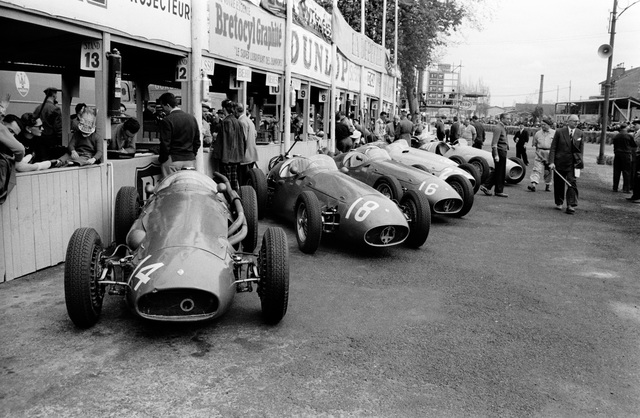 , 'Maserati Factory Team Lined up in Pits at Pau, France,' 1955, Robert Klein Gallery