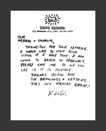 Handwritten and hand signed letter on Haring's original letterhead