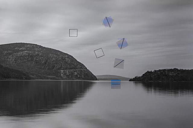 Haoran Fan, 'Lake, Cold Spring, New York ', 2015, Photography, Inkjet print, thread, transparent film, Brownie Project
