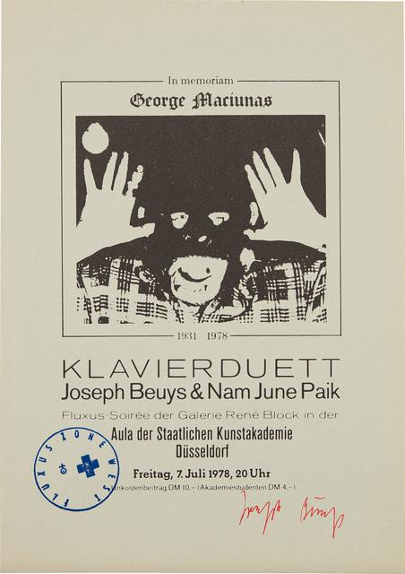Joseph Beuys, 'In Memoriam George Maciunas', 1978, Phillips