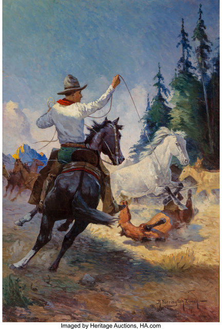 Robert Farrington Elwell, 'Lassoing Mustangs, probable magazine cover', Heritage Auctions