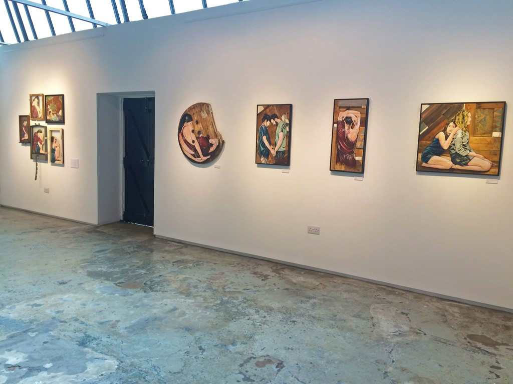 Taken towards the far right corner, in the second room of the gallery. Jana and JS's choices of warm colours stand out very well against the plain white walls that the gallery provides.