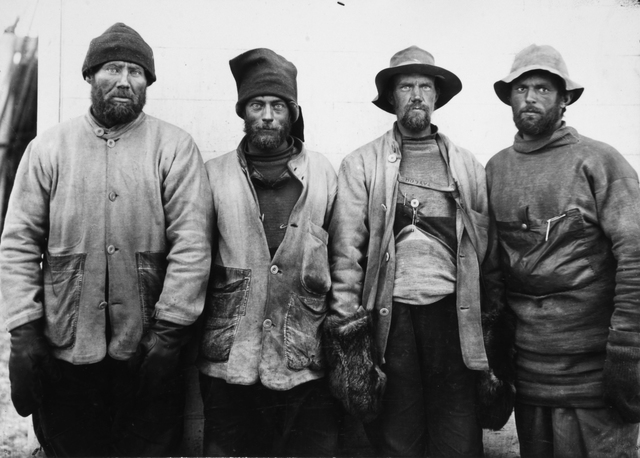 , 'F DEBENHAM, T G TAYLOR, T GRAN AND FORDE, FROM THE SCOTT SOUTH POLAR EXPEDITION, ANTARCTICA, 1911,' 1911, Beetles + Huxley