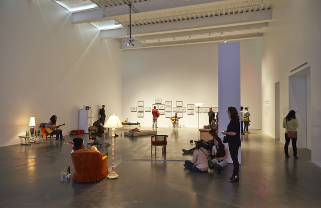 """, 'Installation view, """"Ragnar Kjartansson: Me, My Mother, My Father, and I,"""" New Museum, 2014,' , New Museum"""