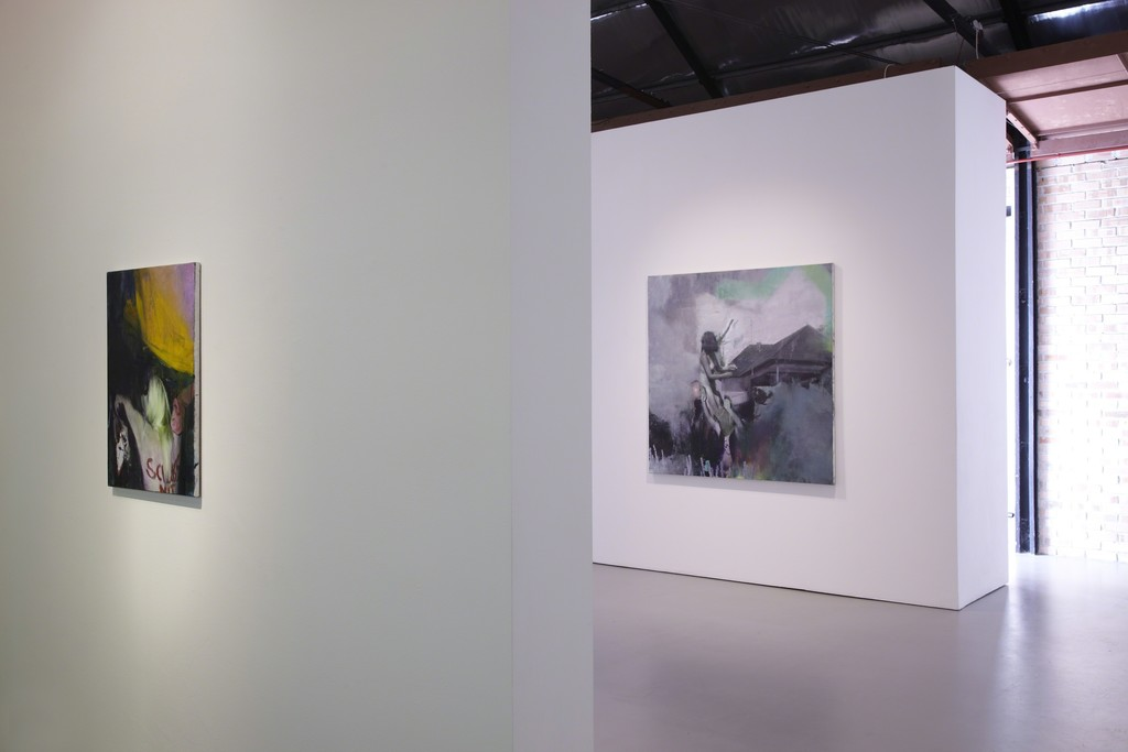 Justin Mortimer, 'Schluss', oil on canvas, 2014 (left)