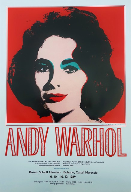 Andy Warhol, 'Andy Warhol at Castel Mareccio (Liz Taylor)', 1989, Posters, Offset-Lithograph, Exhibition Poster, Graves International Art