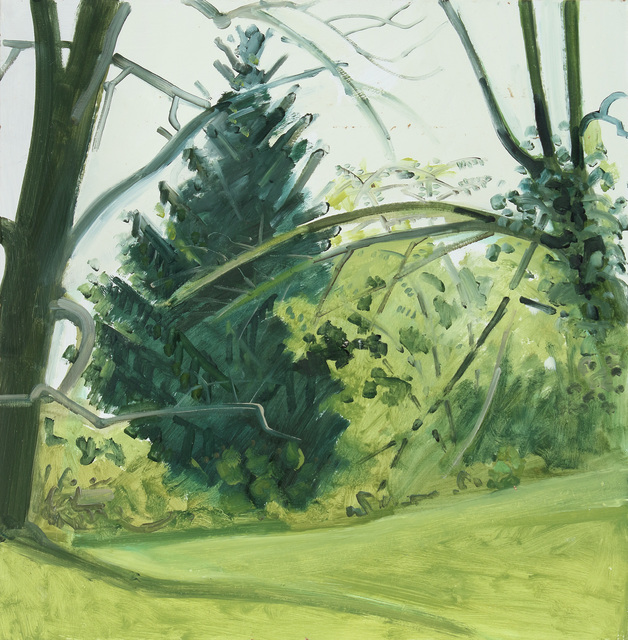 Lois Dodd, 'Hedgerow & Trees, Fall', 1989, Painting, Oil on Masonite, Alexandre Gallery