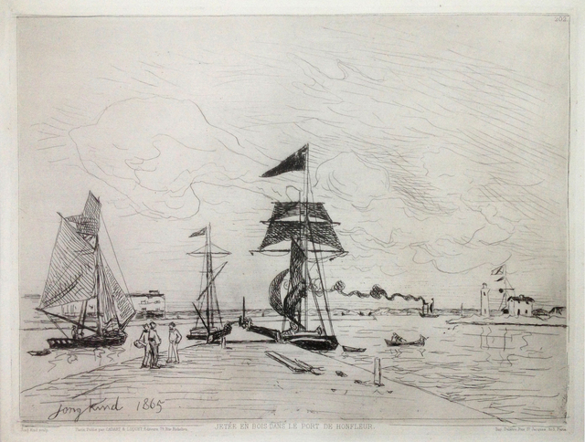 , 'Jetée en bois dans le port de Honfleur ,' 1865, Hans den Hollander Prints