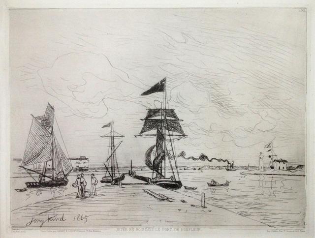 Johan Barthold Jongkind, 'Jetée en bois dans le port de Honfleur ', 1865, Hans den Hollander Prints