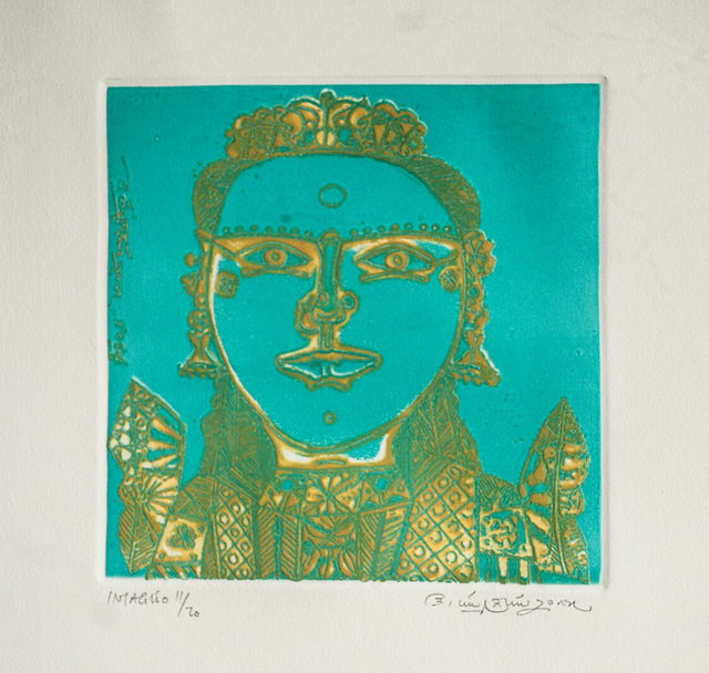 Laxma Goud, 'Unique South Indian Woman, Figurative, Etching in green & yellow Color by Indian Artist Laxma Gaud', 2017, Gallery Kolkata