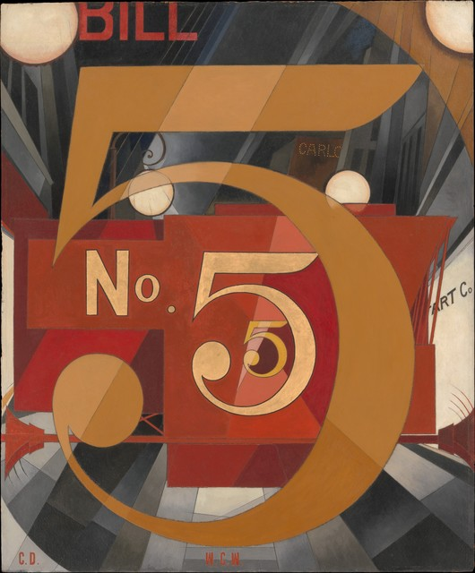 Charles Demuth, 'I Saw the Figure 5 in Gold', 1928, Painting, Oil, graphite, ink, and gold leaf on paperboard (Upson board), The Metropolitan Museum of Art